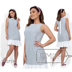 fed2b3c7f4f Платье-мини из льна без рукавов с фигурными вытачками и контрастной оборкой  на подоле X10719