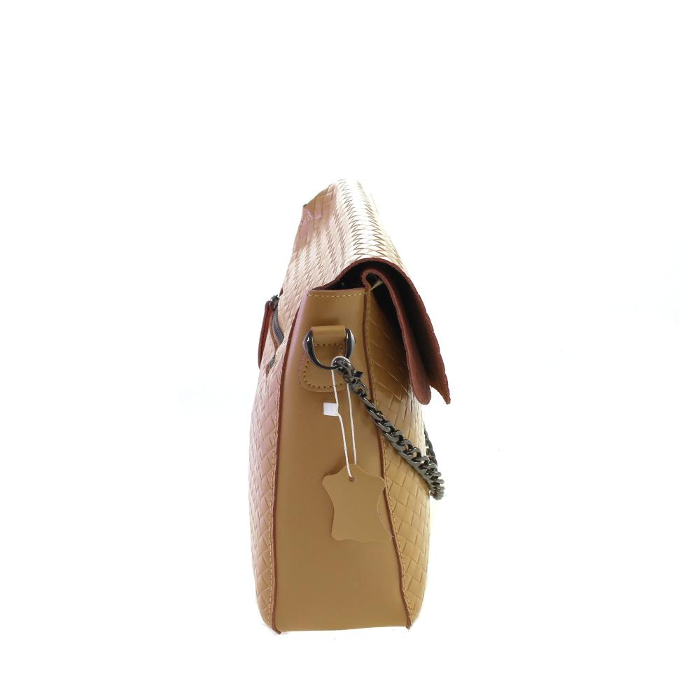 c16b11f744a4 Эффектная сумочка Sofi_Velense из натуральной кожи с оригинальным тиснением  темно-бежевого цвета. 6 фото