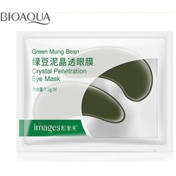 Маски-патчи под глаза с экстрактом бобов Мунг «BIOAQUA» Crystal Penetration Eye Mask Green Mung Bean  7,5 гр.