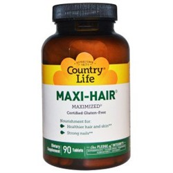 АКТИВАТОР роста волос. Country Life, Maxi-Hair, 90 Tablets