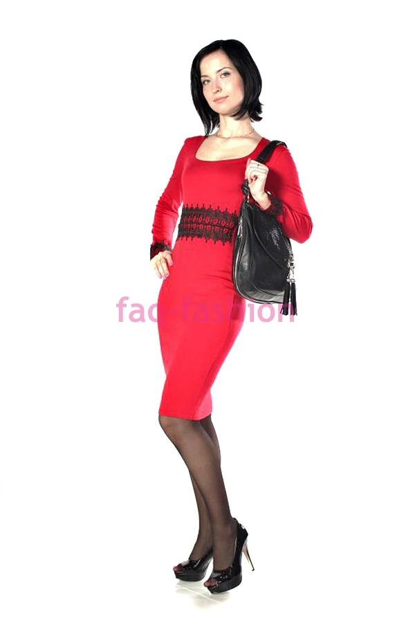 24704623d19 Платье Джерси Кружево-Манжет Красный купить, отзывы, фото, доставка ...